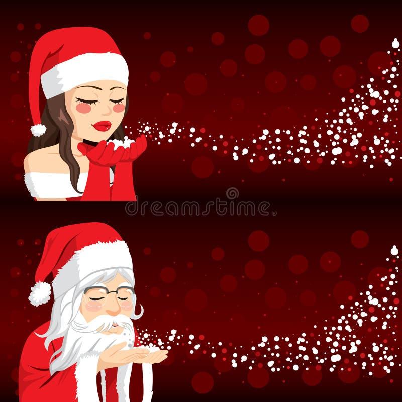 Santa People Blowing Christmas Snow vektor abbildung