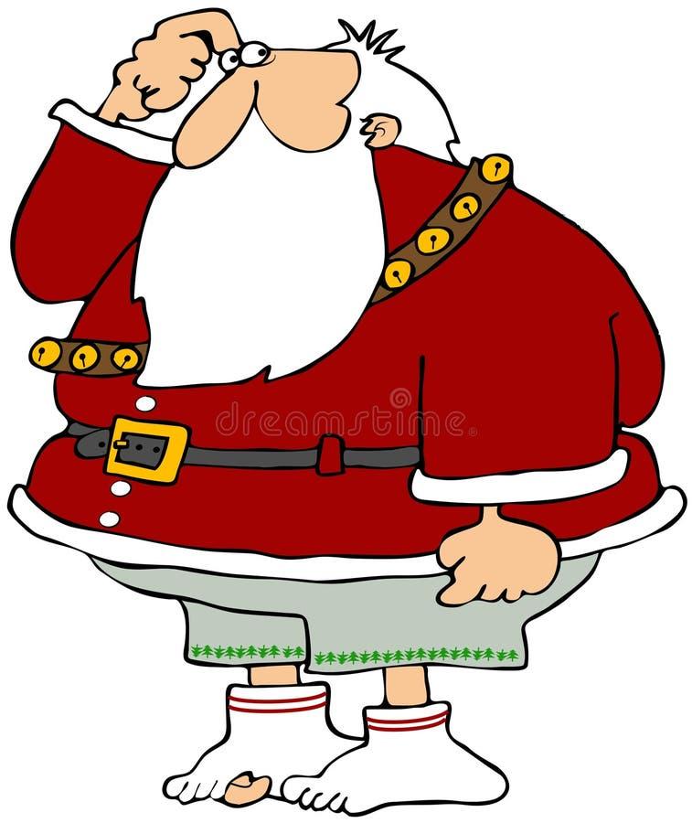 Santa perdió sus pantalones stock de ilustración