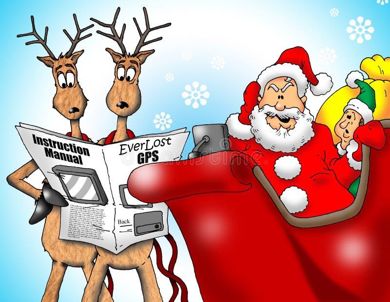 Santa perdido con el GPS libre illustration