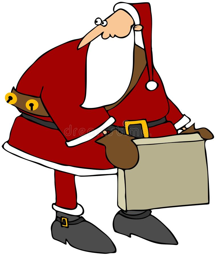 Santa Picking Up A Box Stock Photography