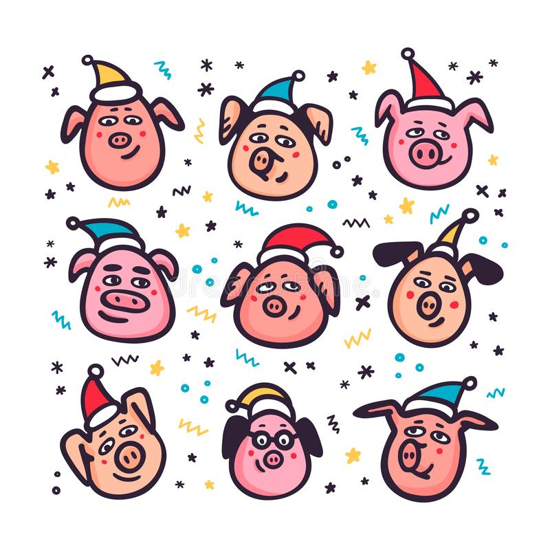 Santa Pigs Roliga svin med santa hattar 2019 kinesiska symbol för nytt år Klotterstiltecken för hälsningkort, tryck vektor illustrationer