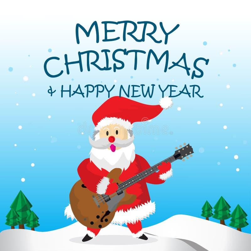 Santa Play Jazz Guitar Merry Christmas stock illustration