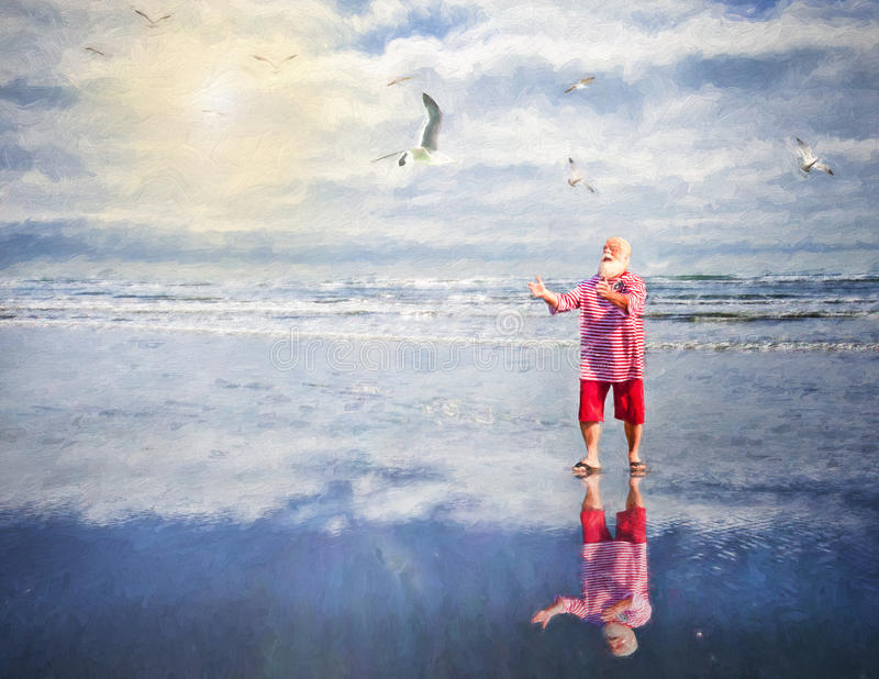 Santa Playing On The Beach. Santa playing with seagulls on the beach stock photos
