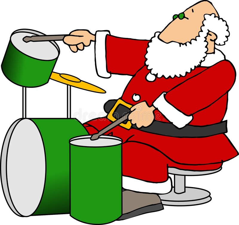 Santa Playing Drums stock illustration