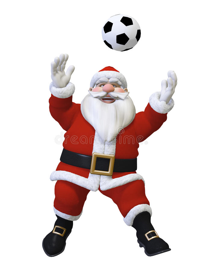 Santa playing football stock illustration of