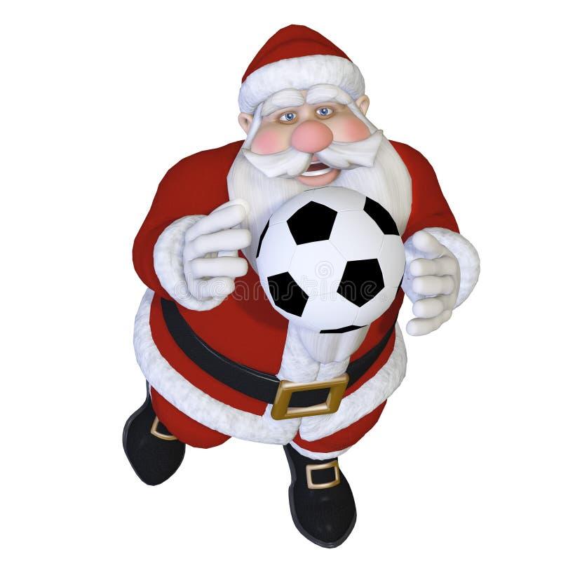 Santa playing football stock illustration image