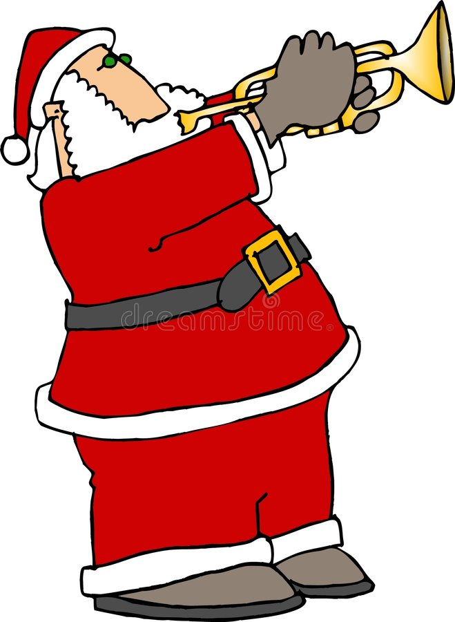 Santa Playing Trumpet stock illustration