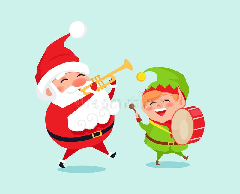 Santa Playing on Trumpet, Green Elf with Drum stock illustration