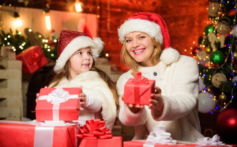 Santa, please stop here. Happy family celebrate new year. xmas gift. Open present. merry christmas. mother and daughter royalty free stock photography