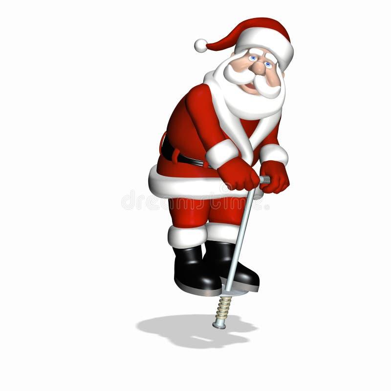 Santa pogo kija badania zabawka royalty ilustracja