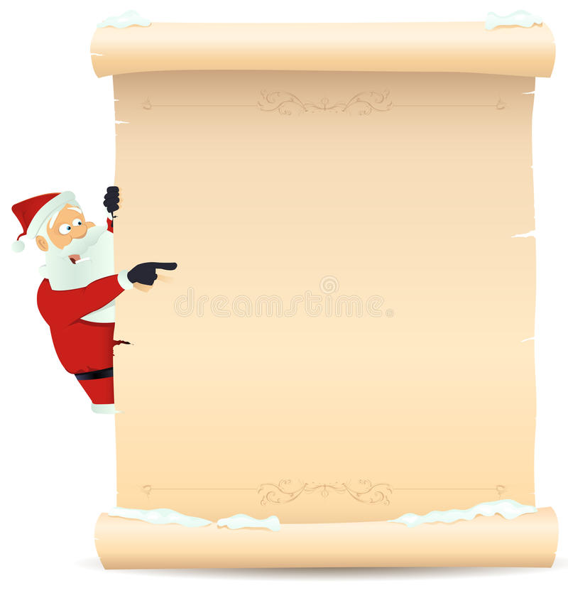 Free Santa Pointing Christmas List Royalty Free Stock Image - 21725256