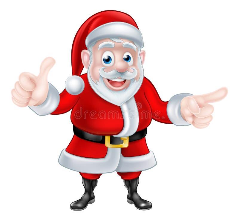 Santa Pointing y del donante pulgares para arriba stock de ilustración
