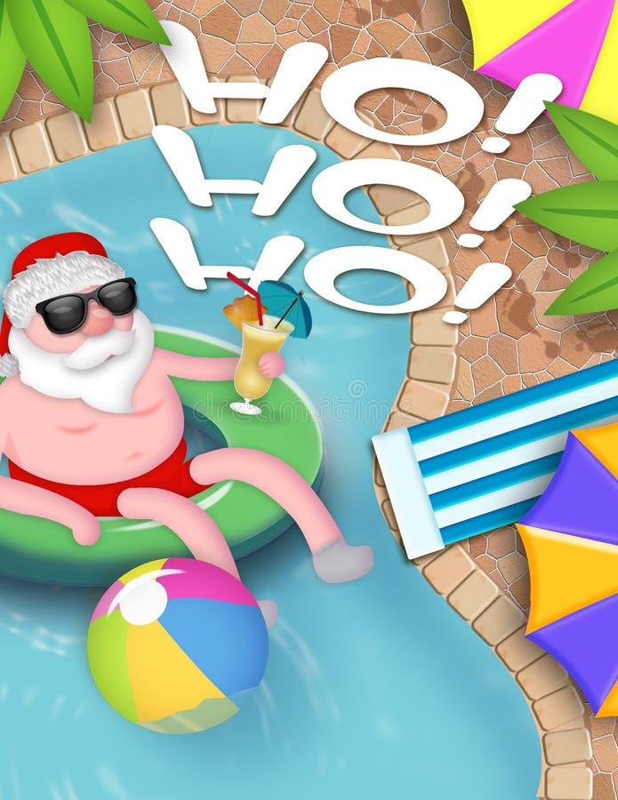 Santa Pool Party Christmas stock abbildung
