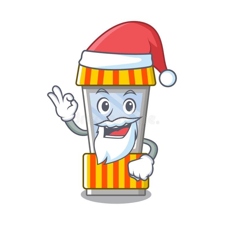 Santa popcorn vending machine in mascot shape. Vector illustration stock illustration