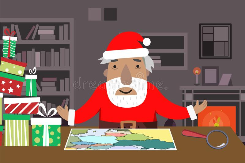 Santa pracy przestrzeń z mapą i powiększać - szkło, prezentów pudełka, stół, półki, graba royalty ilustracja