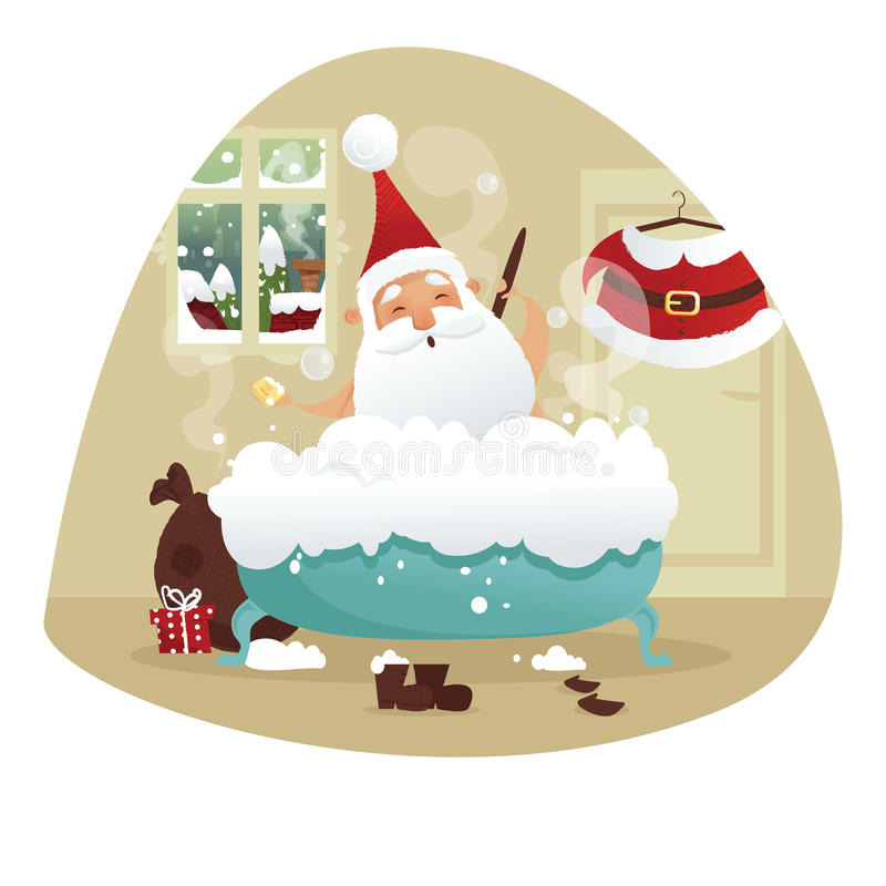 Santa prenant un bain illustration stock