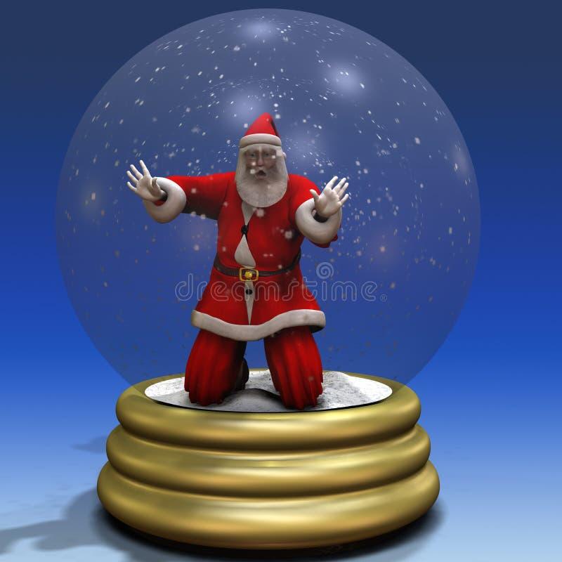 Santa prendeu no globo 3 da neve ilustração do vetor