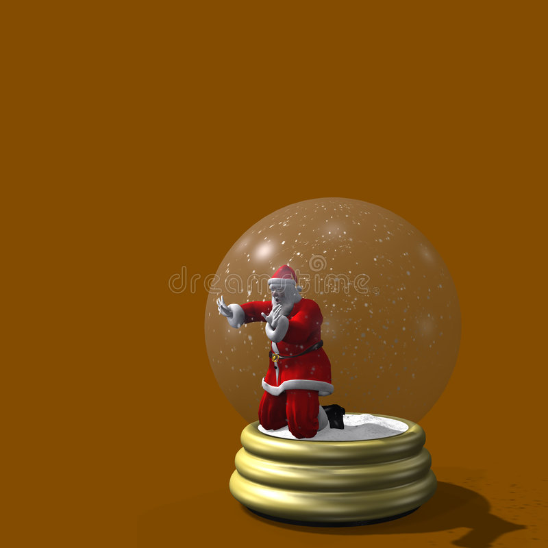 Santa prendeu no globo da neve ilustração royalty free