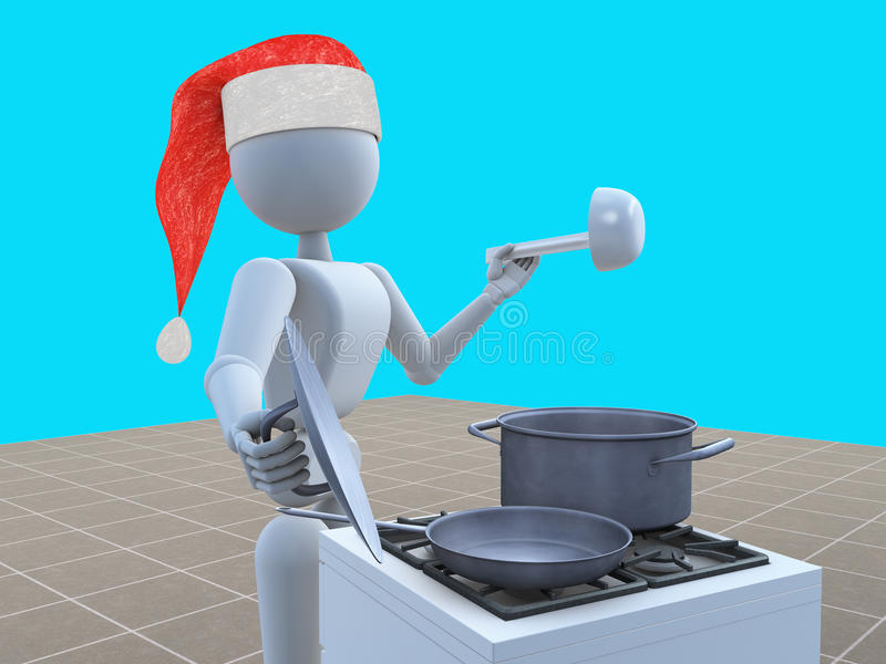 Santa prepara una cena di galà royalty illustrazione gratis