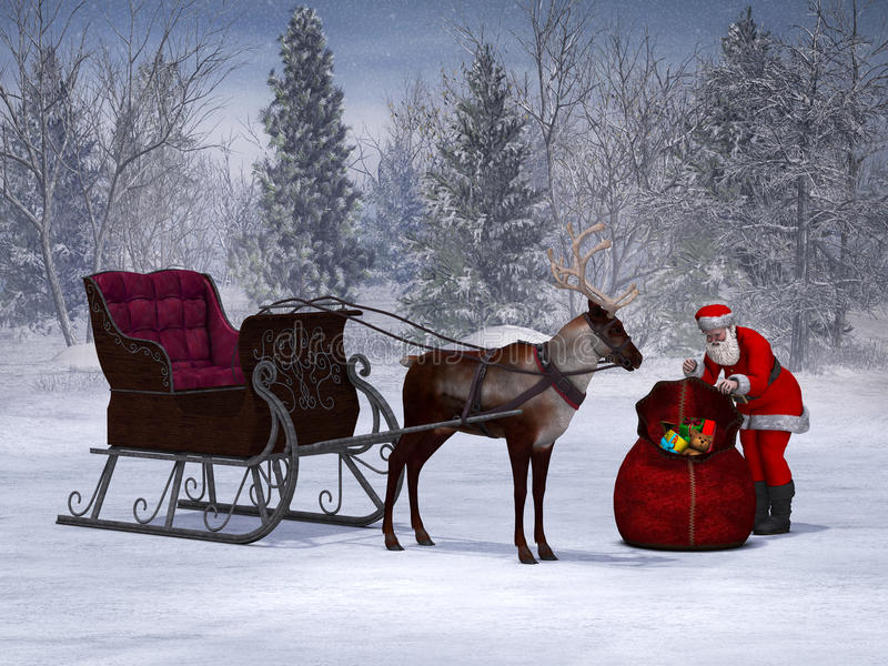 Stock Photo Santa Packing His Sack With His Sleigh And ...