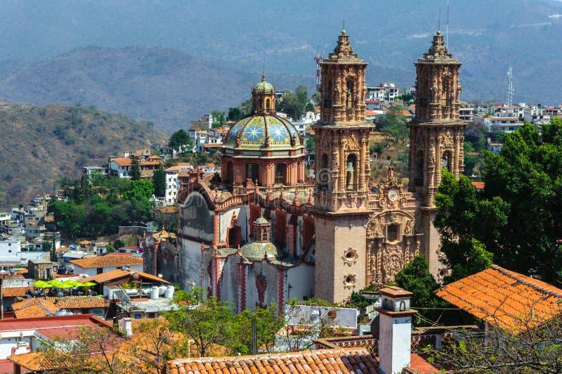 Santa Prisca-parochie in Taxco DE Alarcon, Mexico stock afbeelding