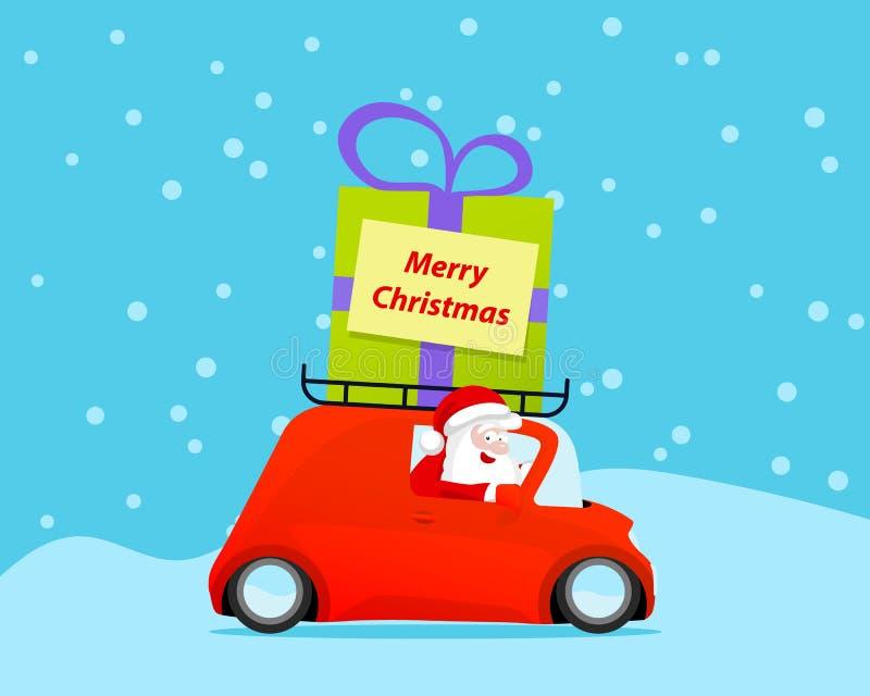 Santa przejażdżki boże narodzenia samochodowi z prezentem ilustracji