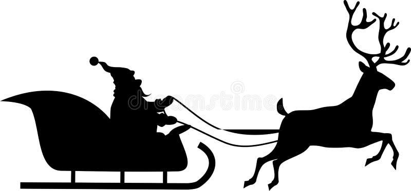 Santa przejażdżki w saniu royalty ilustracja