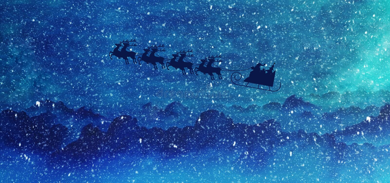 Santa przychodzi w obrazkowym zima krajobrazie royalty ilustracja
