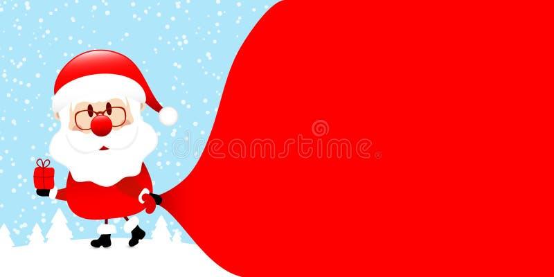Santa Pulling Gift Bag Left Forest Blue vector illustratie