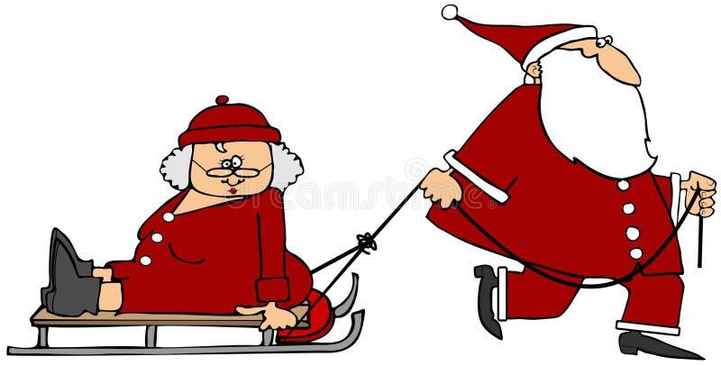 Santa pulling Mrs Claus on a sled stock illustration