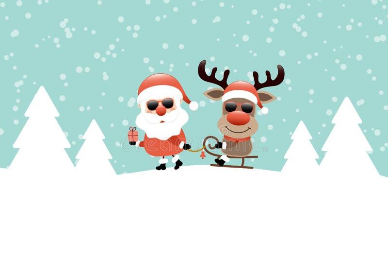 Santa Pulling Sleigh With Reindeer-Zonnebrilturkoois vector illustratie
