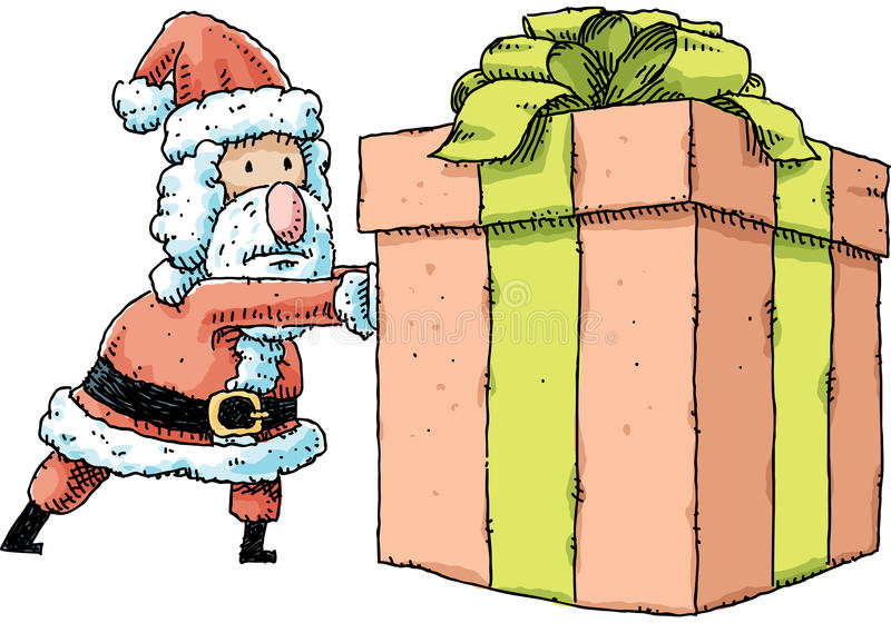Santa Pushing Present royaltyfri illustrationer