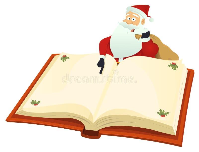 Santa que aponta o livro ilustração stock