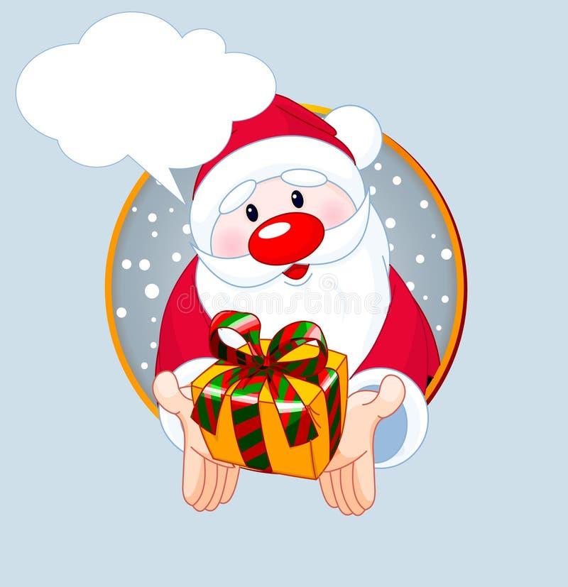 Santa que da una tarjeta del regalo stock de ilustración