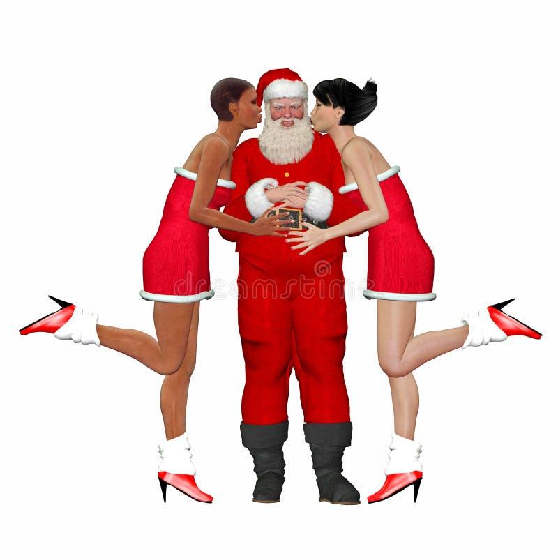 Santa que es besado por los amigos de señora stock de ilustración