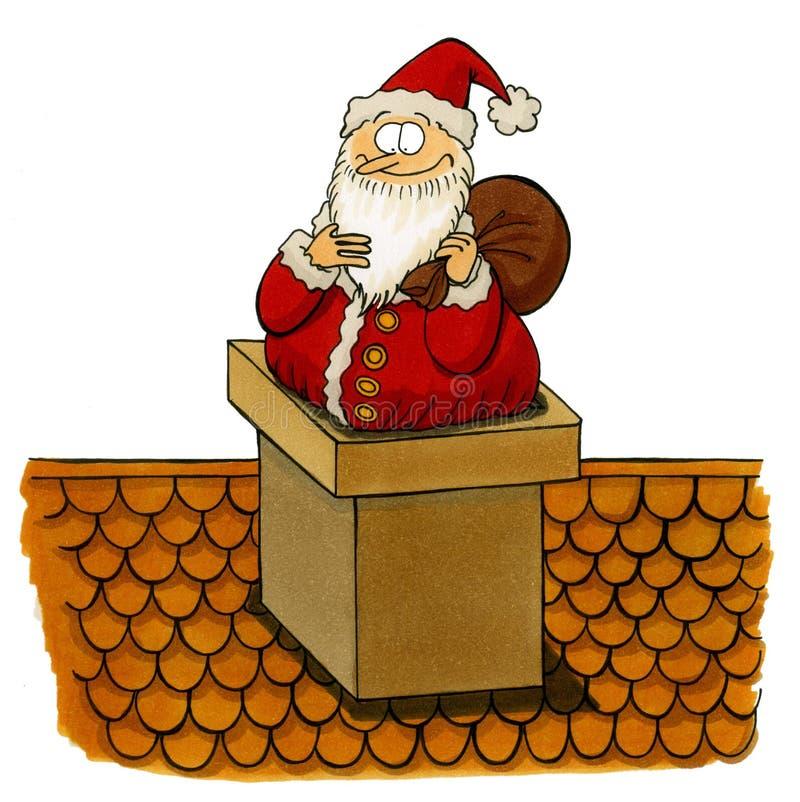 Santa que es pegado en la chimenea libre illustration