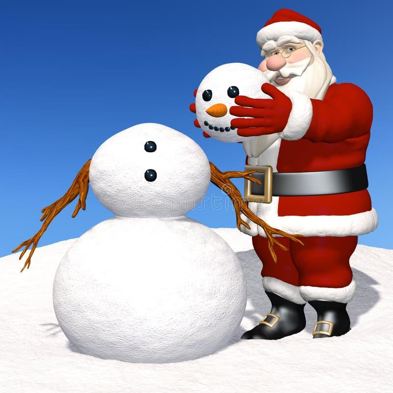 Santa que hace un muñeco de nieve stock de ilustración