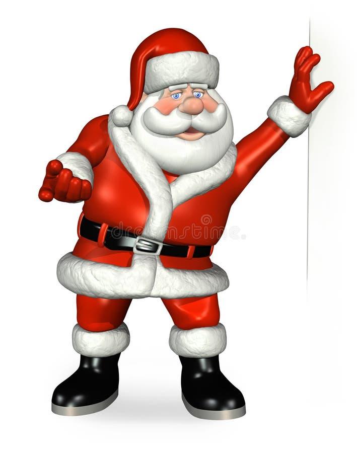 Santa que inclina-se em uma borda ilustração stock