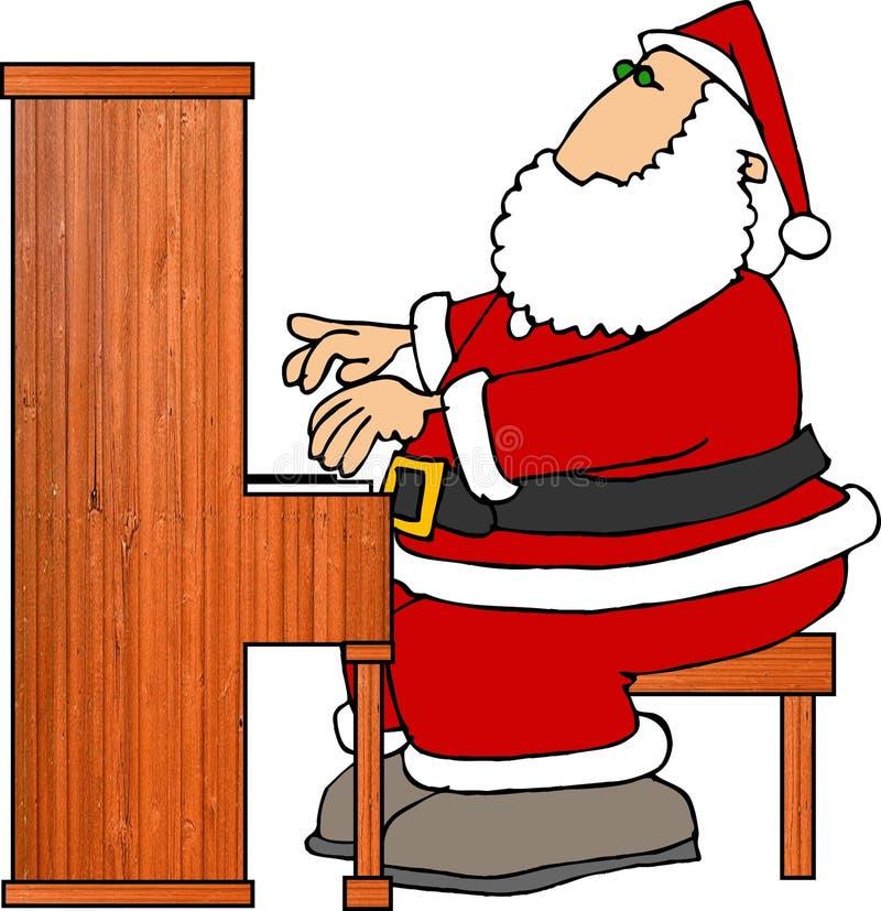 Santa que juega el piano stock de ilustración