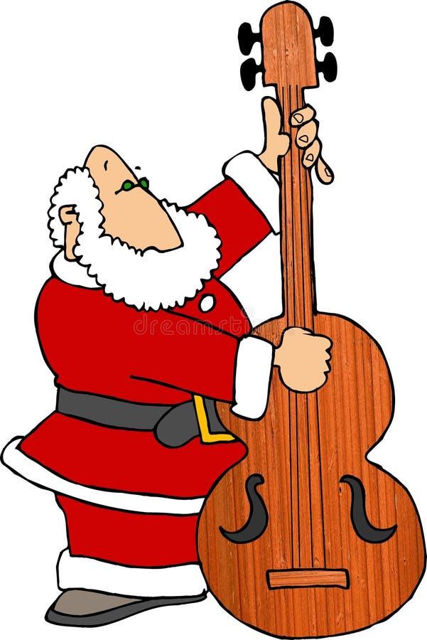 Santa que juega el violín bajo libre illustration
