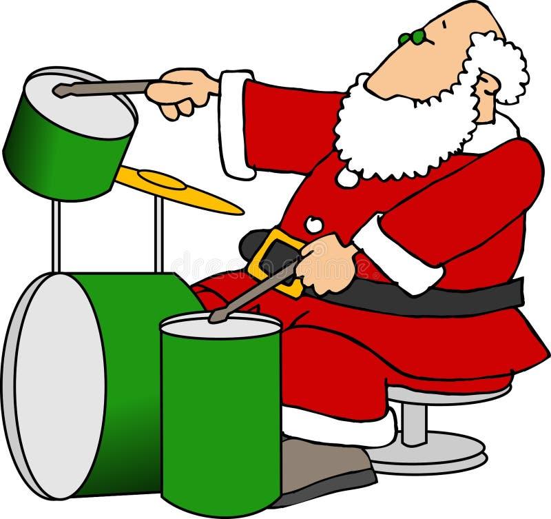 Santa que juega los tambores stock de ilustración