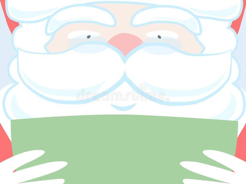 Santa que lê o papel verde. ilustração stock