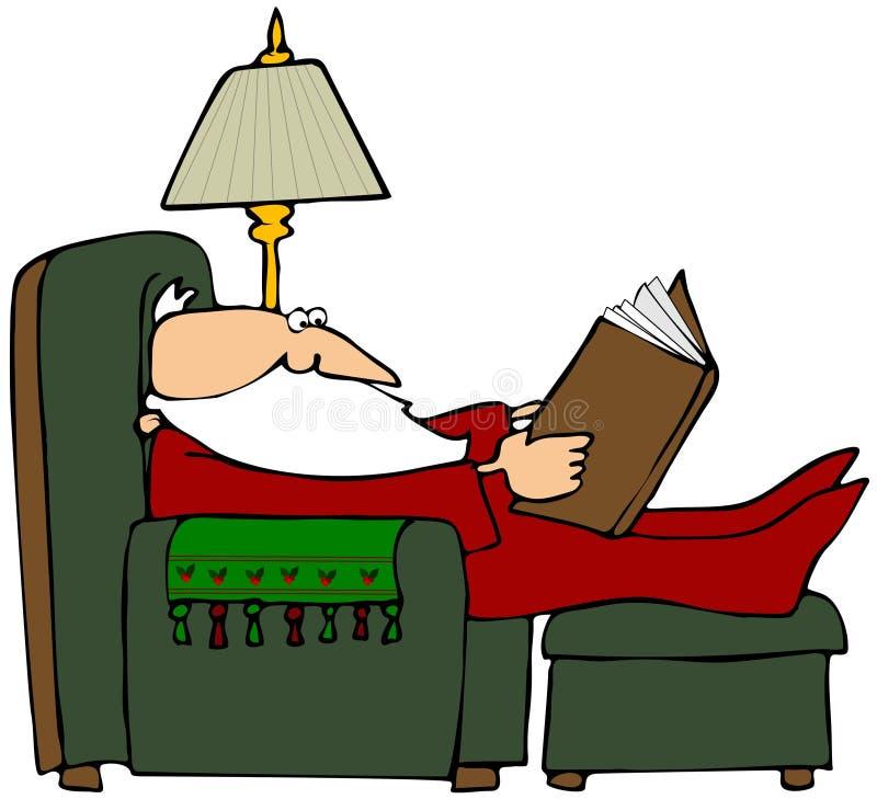 Santa que lê um livro ilustração do vetor