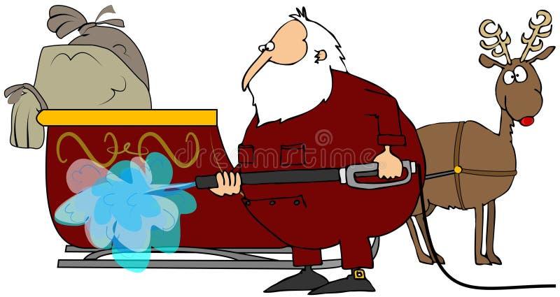 Santa que lava su trineo stock de ilustración