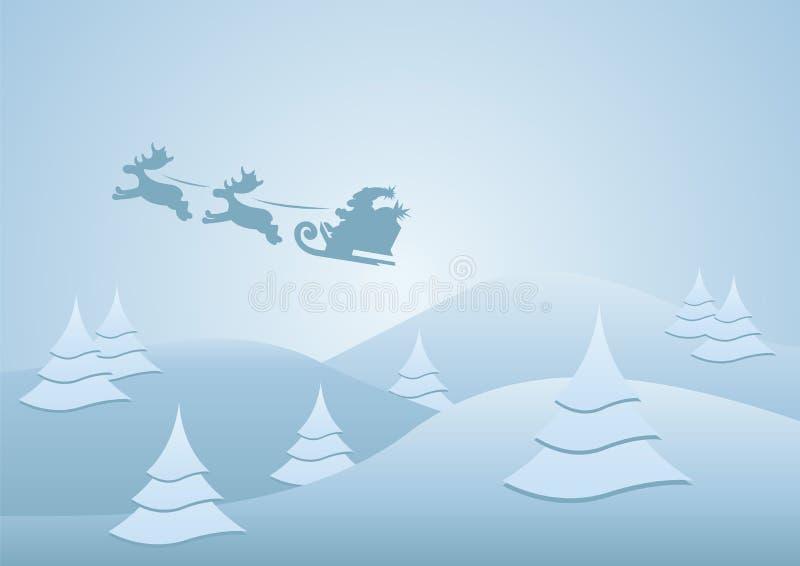 Santa que monta su trineo stock de ilustración