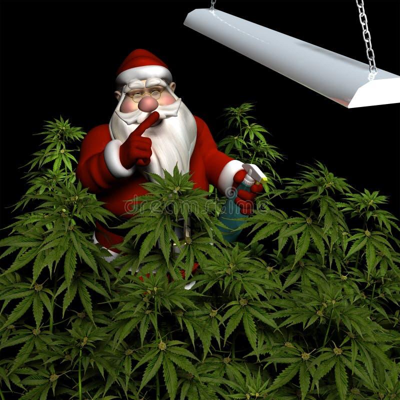 Santa que riega su cosecha de la marijuana libre illustration