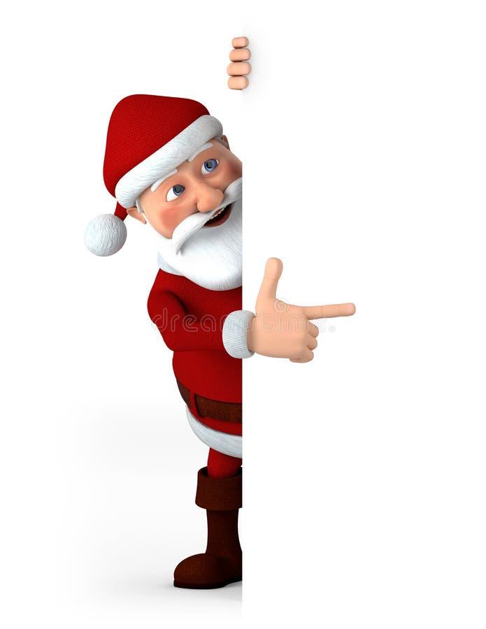Santa que señala en la muestra en blanco ilustración del vector