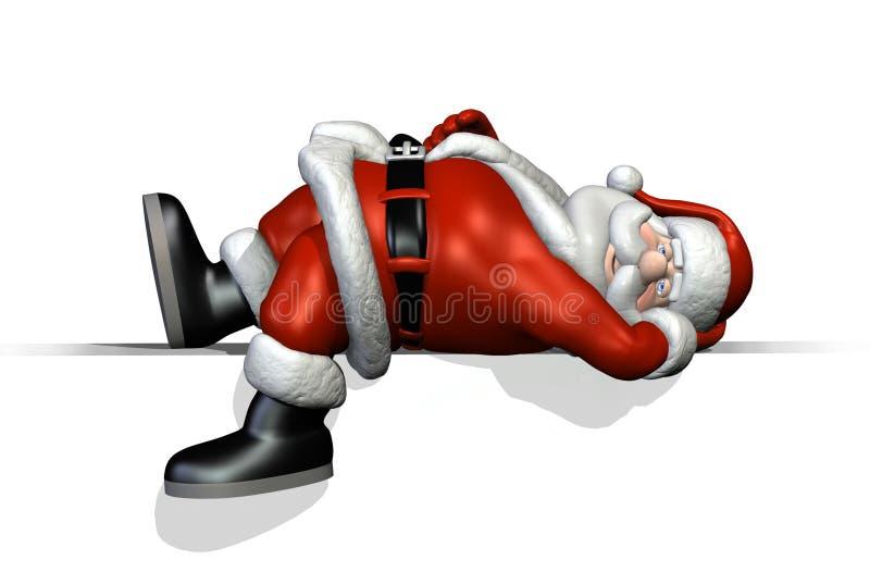 Santa que se reclina sobre un borde libre illustration