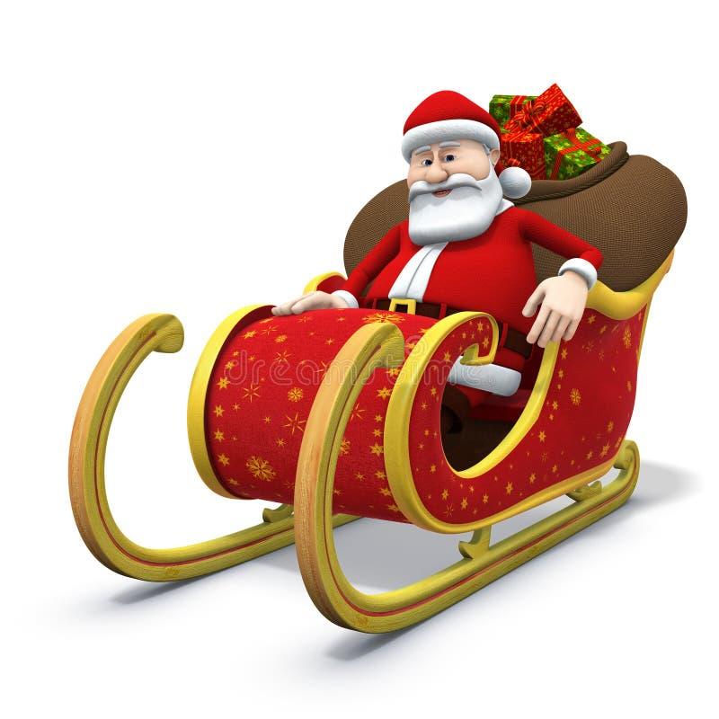 Santa que senta-se em seu trenó ilustração royalty free