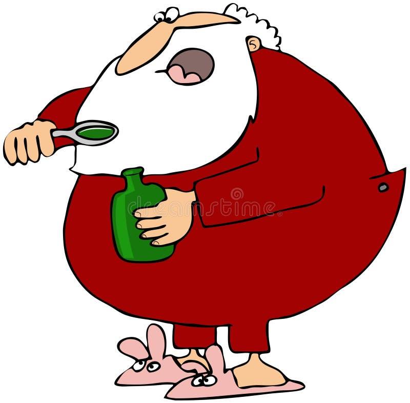 Santa que toma el jarabe de la tos libre illustration